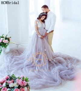 Long Train 2 Piece Pregnant Women Evening Dress Long Sleeves V Neck Plus Size Lace Tulle Women Formal Dresses For Photoshoot