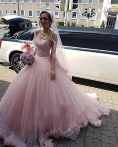 Pink Quinceanera Dresses Lace up Back Sweep Train Appliques Beads Evening Party Sweet 16 Prom Dresses Bridal Gowns Plus Size L192