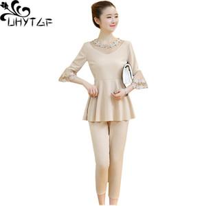 Suits Uhytgf Verão para Moda Trumpet luva Ruffle Plus Size Two Piece Set Top e calças elegante Mulheres Sports Define 1408