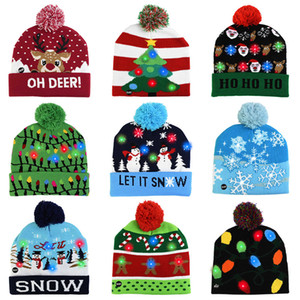LED Christmas Hat Sweater Knitted Beanie Christmas Light Up Knitted Hat Christmas Gift for Kids Xmas 2021 New Year Decorations winter hats