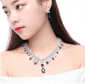 Women Diamond Necklace Earrings Jewelry Set Wedding Bridal Pendant Necklace Zircon Cubic Zirconia Earrings Long Dropping Earrings Prom Gift