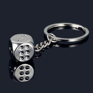 New Dice Pendant Key Chain Metal Model Alloy Keychain 6 Sides Cube Car Key Ring