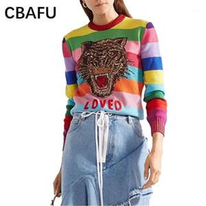 CBAFU Luxuty Frauen Pullover Weiche Pullover Cartoon Tiger Pailletten Stickerei Brief Strickpullover Gestreifte N5961