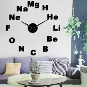 Periodic Table of Elements Large 3D DIY Wall Clock Chemistry Science Subject Mirror Effect Stickers Wall Watch Classroom Decor Clock