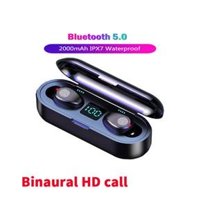 F9 tws Sports Headphones Wireless Earphones Bluetooth 5.0 led display Mini Earbuds For Mobile phones pk i7s i9s i11 i12 i30 i60