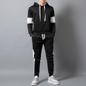 Mens Active Tracksuits Moda Lettere con cappuccio Due pezzi Abiti 2020 Nuovi Autumn Boys Hiphop Streetwear Tracksuit Felpe con cappuccio Joggers