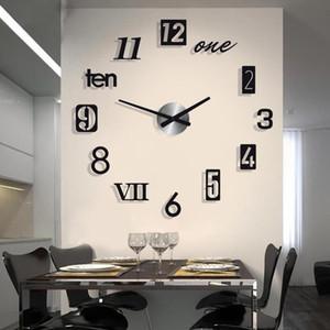 벽시계 간단한 침묵 아크릴 큰 장식 DIY 숫자 시계 현대 디자인 거실 홈 장식 시계 스티커