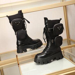 Brand Luxury Designer 2020 New Martin Stivali Donna Top Pocket Bag Muffin Platform Stivaletti Mid-tube Knight Boots Scarpe da moto