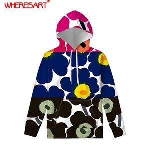 Откуда Poppy Nordic Цветочный узор Женщины Hoddies Длинные рукава Harajuku Большое размера Женщины Толстовки Толстовки Мода Одежда Y200915