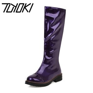 Tuyoki Fashion Women Knee High Boots 5 Color Patent Leather Winter Warm Shoes Round Toe Solid Color Women Footwear Size 34-43