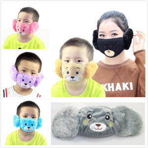 Cartoon Ours Bouclier visage couverture enfants masque de protection oreille Bouche Mignon Animaux 2 en 1 Masques hiver pour le visage adulte enfants masques bouche moufles EWC2708