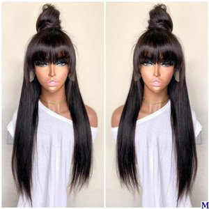 4X4 Silk Top Full Lace Human Hair Wigs with Bangs Glueless Lace Front Fringe Wigs Natural Hairline Remy 360 Frontal