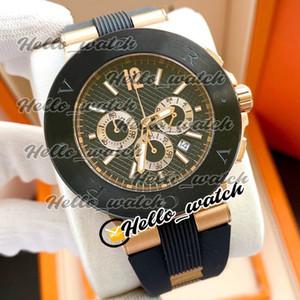 NUEVO DIAGONO DOS TONE ROSE GOLD CASE 101987 Dial negro Miyota Cuarzo Cronógrafo Hombre Reloj de cronómetro Relojes de correa de goma BGHW HELLO_WATCH