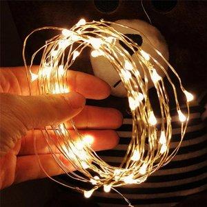 Schnurlichter Silber-Draht-Weihnachtsgirlanden Girlande-Fairy Light Weihnachtsdekorationen für Haus Zimmer Baum Weihnachtsdekoration OWB2340 geführt