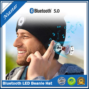 Bluetooth LED Beanie Hat with Light Built-in Stereo Speaker and Mic USB Rechargeable Headlamp Headphone Torch Music Hat Gift DHL