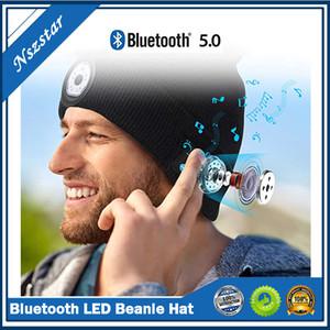 Bluetooth LED Sombrero Beanie con altavoz estéreo incorporado de luz y MIC USB Recargable Faro de cabeza para auriculares Música Sombrero Regalo DHL