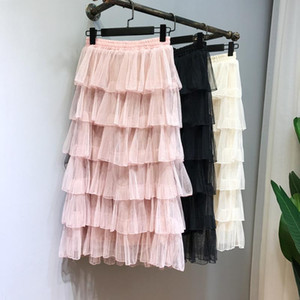 Jupes de couches d'été Femmes Elastic Taille haute Plissée Midi Tulle Jupe Tiotsed Mesdames Jupe décontractée Style de mode coréen 2021