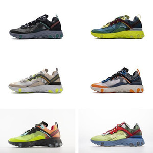 2020 Bred React Vision Shoes React Element 55 87 Running Shoes Hyper Blue Black Iridescent Triple White Game Royal Breathable Sports