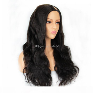 "130% density U Part Human Hair Wigs For Women Water Wave 100% Brazilian Remy Hair Middle Part 2*4 ""Natural Color can be dyed"