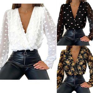 Womens Chiffon Hemden Blumenhohl Langarm V-ausschnitt Sexy Tops Mode Slim Frauen Pullover Blusen