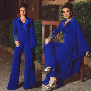 2021 Sapphire Blue Evening Dresses Rhinestone Pearls Prom Dress Long Sleeve Pants V Neck Special Occasion Dresses