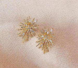 new fashion korean simple style firework shaped earrings crystal diamond luxury design girls gorgeous shining11