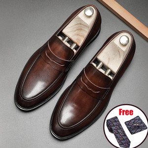 Men leather shoes business dress suit shoes men brand Bullock platform genuine leather black slipon wedding mens Phenkang