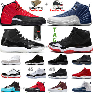 New 11 11s 25th Anniversary Bred Concord 45 Space Jam Mens Basketball Shoes 12 12s Indigo Game Royal Reverse Flu Game Men Sneakers Trainers