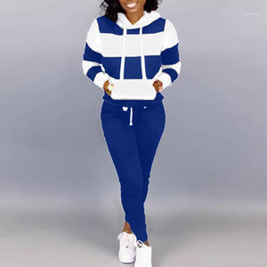Plus Size Women Clothing Two Piece Set Stripe Hoodies Top And Long Pants Casual Sweatsuits For Women Tracksuit Joggers Clothing1