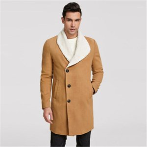 Bubble Fleece Jackets Fashion Trend Single Breasted Fleece Long Sleeve Lapel Trench Coat Designer Male Casual Mid-length Slim Outerwear Man