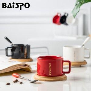 Baispo tazza europea tazza di caffè in ceramica tazza di latte succo d'acqua tazza di acqua gratis cucchiaio ufficio manico caffè drinkware tazza pentola regalo