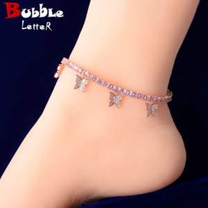 4MM Pink Color With Animal Butterfly Anklet for Women Tennis Chain Iced-Out Material Copper Adjustable Hip Hop Rock Street Charms Jewelry