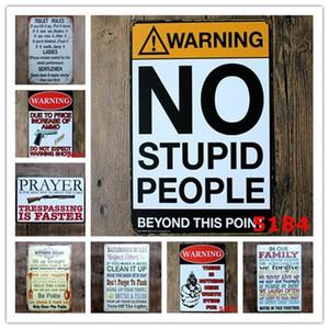 Avvertimento No Stupid Persone Toilette Cucina Cucina Bagno Regole Familiare Bar Pub Cafe Caffè Casa Ristorante Decoratio Vintage Tin Signs Retro Metal Tin Sign