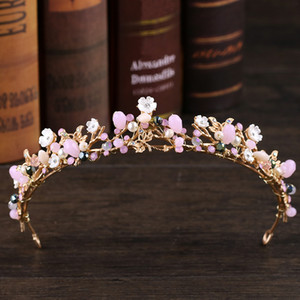 New Wedding Crown Leaf Flower Gold Crown Rhinestone Pearl Tiara Headband Wedding Hair Accessories Bridal Crowns Hair Accessories