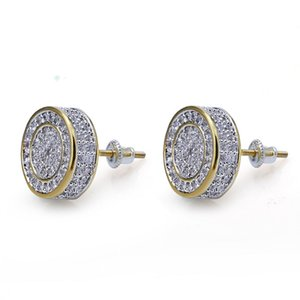 Mens Hip Hop Stud Earrings Jewelry New Fashion Gold Round Zircon Iced Out Earrings For Men