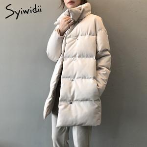 syiwidii woman parkas plus size clothing for women jacket beige black Cotton Casual Warm fashion Button Long winter coat 201026