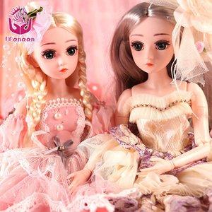 Ucanaan 18 polegadas 45cm 1/4 bjd bonecas 18 bola articulada boneca para meninas com roupas completas vestido sapatos maquiagem brinquedos boneca sd para crianças lj201031