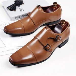 Fashion Buckle Man Shoes Leather Loafers Mens Dress Shoes Big Size 39-48 Semi Formal for Men Suit Abito Elegant Uomo