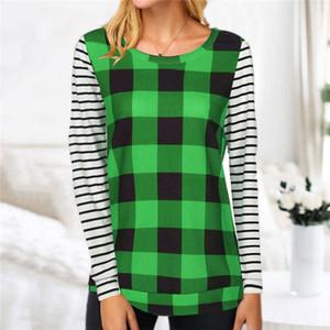 Женские плед лоскутные блузки 2021 дизайнеры футболки с длинным рукавом пуловер с капюшоном в полоску Checkered футболка пот рубашка наряды Top G11205