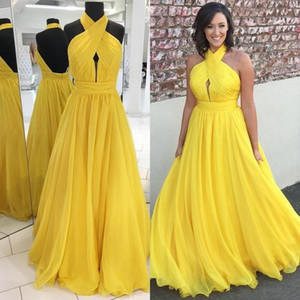 Cheap Yellow Sexy A-line Prom Dresses Halter Neck Pleats Backless Formal Dress Party Gowns Evening Party Wear ogstuff vestido de novia
