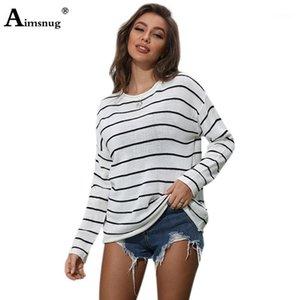 AIMSNUG Casual Pullover Pullover Oansatz Langarm Herbst Tunika Oberbekleidung Mode Streifen 2020 Frauen Lose Strickpullover1