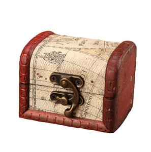 Vintage Jewelry Box Mini Wood World Map Pattern Metal Container Organizer Storage Case Handmade Wooden Small Boxes YL170