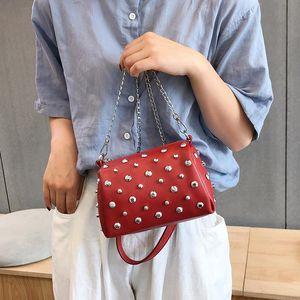 Women Bag Soft Leather 2020 New Portable Crossbody Bag Rivet Diamonds Chain Clutch Lipstick Packet Coin Purse A811