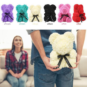 25cm Creative Foam Rose Teddy Bear Artificial Flower Rose Bear Christmas Party Decoration Valentines's Gifts Supplies fy4440