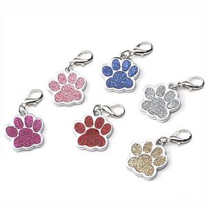 Güzel Kişiselleştirilmiş Köpek Etiket Oyma Köpek Pet Kimlik Adı Yaka Etiketler kolye Pet Aksesuar Paw Glitter Kişiselleştirilmiş Köpek Yaka Etiket AHA1762