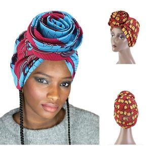 2021 Neue Afrikanische Druck Stretch Bandana Kopf Wrap Langer Schal Satin Blumen Ankara Frauen Party Turban Headwear Kappe Haarschmuck