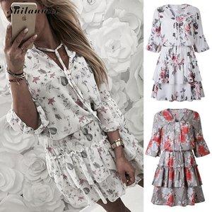 2020 Весна Лето Женщина Бохо Белое платье рюшами Флористические напечатанные мини-платья Повседневная фонарь с длинным рукавом V шеи Sundress Vestidos1