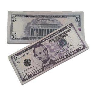 Prop Billet Money Bar Movie Play Faux Toys Fake 5 Party Dollar Dadfi Nightculb 2d 100pcs pack Children's Olfvn