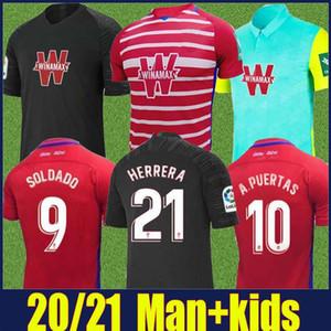 2020 2021 Гранады трикотажных изделий футбола мужчина дети Kit 20 футбола Джерси 21 Granada CF Сольдадо A.PUERTAS HERRERA Домингуша D роберт D.MACHIS форма