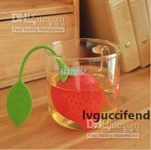 Strawberry shape silicone tea infuser strainer silicon tea filler bag ball dipper